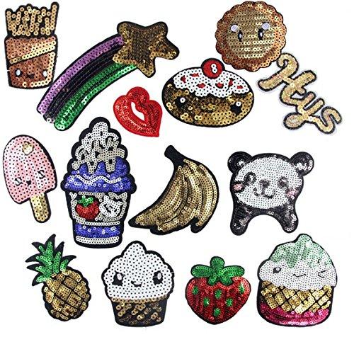 Parches para coser o planchar de helado patatas fritas plátano fresa osos con lentejuelas bordadas (Paquete de 15 unidades)