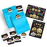 8-er Set Einladungskarten, Umschläge, Tüten / blau, Aufkleber Kindergeburtstag Mädchen Jungen Jungs Geburtstagseinladungen Einladungen Geburtstag Kinder Kartenset