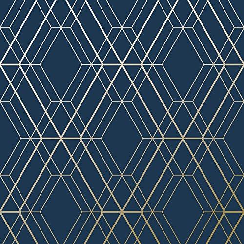 Tapeten mit geometrischem Rautenmuster - Marineblau und Gold-WOW003World of Wallpaper