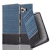 Cadorabo Hülle für Nokia Lumia 950 - Hülle in DUNKEL BLAU SCHWARZ – Handyhülle mit Standfunktion und Kartenfach im Stoff Design - Case Cover Schutzhülle Etui Tasche Book