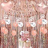 Decoraciones para fiestas de feliz cumpleaños en oro rosa: cortinas con flecos, pancarta de globos de feliz cumpleaños, globos de confeti, adorno de pasteles