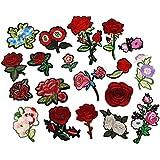 LJY 19piezas Juego de diseño de flores estilo hierro en bordados, multicolor Glitter DIY de costura de decoración Applique Parches