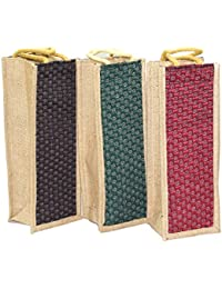 3 Pack Jute Water Bottle Bag With Reinforced Handles Reusable Eco-friendly Carry Bag (5x4.5x14) Inch - Color May...