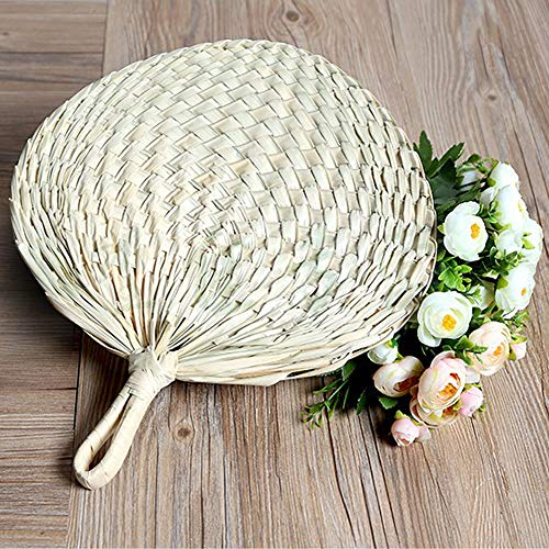 NZNNXN Natürlicher handgemachter Palmblattfächer, Sommerkinderfächer, Alltagsbedarf, chinesischer Fächer, Nabelfächer -