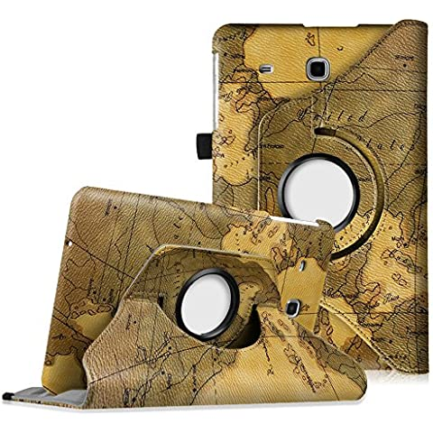 """Fintie Samsung Galaxy Tab E 9.6 Custodia in pelle - Slim girevole Smart 360 gradi di rotazione Case Cover Custodia Protettiva con Funzione standard per Samsung Galaxy Tab E 9.6"""" SM-T560 SM-T561, Map Marrone"""