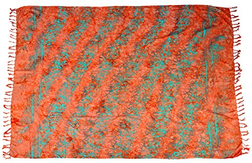 Guru-Shop Sarong, Wandbehang, Wickelrock, Sarongkleid 84, Herren/Damen, Orange, Viskose, Size:One Size, 160x100 cm, Sarongs, Strandtücher Alternative Bekleidung