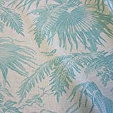 Stoff Meterware Baumwolle natur Dschungel celadon türkis