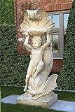 Knabe auf Fisch, Steinfigur, Gartenfigur Farbe hellgrau