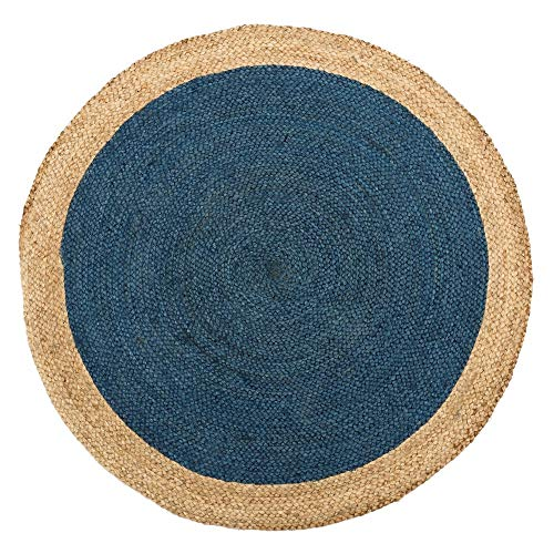 Alfombra Redonda de Fibra Natural Azul rústica para salón de 120 cm