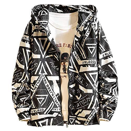WLXFVNYBD Giacca Patchwork da Uomo Stile Autunno Steetwear Giacche Larghe Hip-Hop Stampa Cappotto con Cerniera Capispalla Taglie Forti @ Nero_XXXL