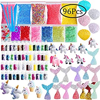 Slime Supplies Kit, Outee 96 Pack Glitter Slime Add Ins Fish Bowl Beads Floam Ingredients Mermaid Unicorn Glitter Jar Tools Glitter Slime Charms Kit for Girls and Boys Slime DIY Making