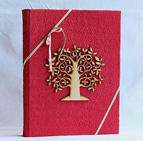 Album Photo 23x 30Arbre de la vie Tree Of Life application bois 30pages avec boîte papier Moonrock Rouge Cadeau Mariage Photo amoureux