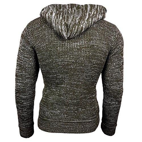 Rusty Neal Top Herren Winter Kapuzenpullover Pulli Sweatshirt Jacke RN-13277 Neu Khaki