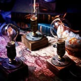 OYGROUP Wood Night Light-Table Lamp-Vintage Desk Lamp-E27 Edison Bulb Wooden Retro Industrial Dimmable Nightlight for Bedrooms Living room Home Art Display Cafe Bar Studio Antique Décor No Bulb