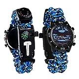 6in 1Survival Armband Armbanduhr, multifunktional Notfall Survival Uhr mit Paracord Pfeife Schaber Fire Starter Kompass und Thermometer, Camping Wandern Fist-Hilfe-Set, blau