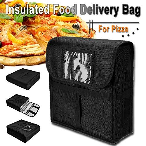 Janolia Bolsa Térmica, Bolsa de Pizza Aislado, 33x11x34 cm Material Exterior de Tela Oxford y Inferior de Papel de Aluminio, Gran Bolsa Impermeable de Entrega de Alimentos Negro