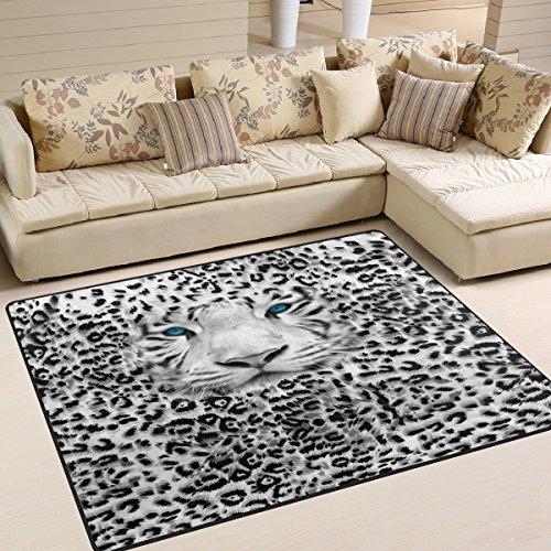 Use7 Alfombra con Estampado de Leopardo de Animales Salvajes para salón o Dormitorio, Tela, 160cm x 122cm(5.3 x 4 Feet)