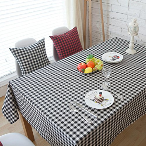 GlobalDeal Direct kariert Muster Tischdecke Leinen Esstisch Schreibtisch Home MÖBEL Dekoration–Schwarz + Weiß 60* 60cm, schwarz/weiß, 60x60cm