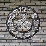 CSQ Massivholz Wanduhr, Bar Restaurant Wohnzimmer Wanduhr Kunst Persönlichkeit Wanduhr Dekoration Vintage Wanduhr Durchmesser 80CM Wanduhr und hängende Uhr (Farbe : C)