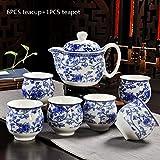 CUPWENH Keramik Double Layer Vintage Chinesischem Blau-Weiß Porzellan Keramik Tee Set 1 Stk 350 Ml Teekanne Mit 6 Stk 100 Ml Teetasse Kit, Ich