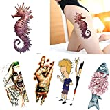 61R3Vy039TL. SL160  BEST BUY UK #15 Sheets Punk Style Temporary Waterproof Tattoo Decal Wing Boy Body Art Fish Flower Arm Sticker Sea Horse price Reviews uk