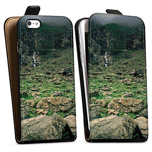 Apple iPhone X Silikon Hülle Case Schutzhülle Wasserfall Gebirge Felsen Downflip Tasche schwarz