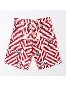 TT Pantalones de playa impresos de cinco puntos para hombres,rojo,XL