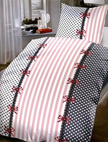 Leonado Vicenti 4 teilige Bettwäsche 135×200 cm in schwarz anthrazit Schleifen Set mit Reißverschluss
