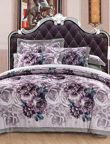 ZHUAN GAOHAIFQ®, vierteilige Anzug, Baumwollsatin Jacquard-Baumwolle 4 Stück Bettwäsche-Package von 1.5m-1.8m Bett / 2.0m Bett Bettwäsche Set, King-Purple, King-Purple