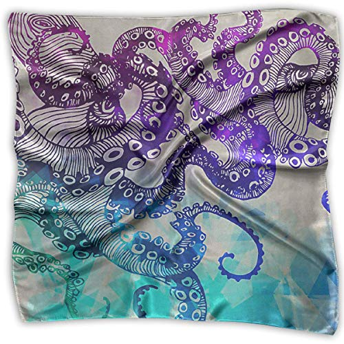 Modern Watercolor Octopus Women's Large Square Satin Head Scarves Silk Like Neckerchief