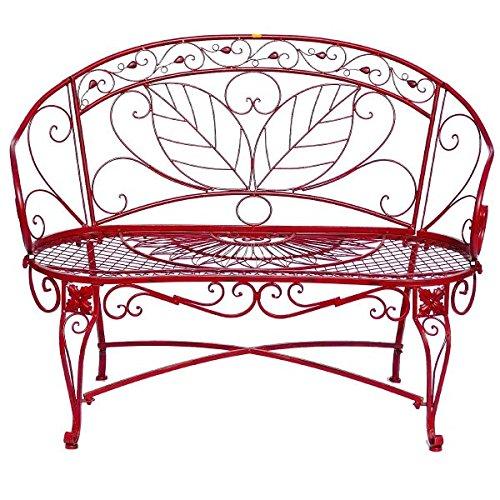 Sitzbank Gartenbank 2er rote Bank mit Blattmuster Terasse Vorgarten Metall - 3