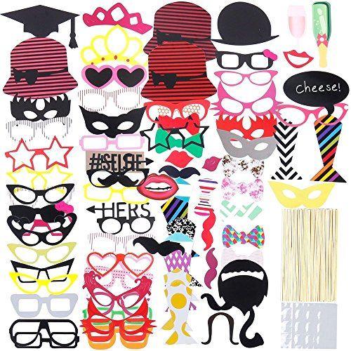 Lictin 86pcs Fotorequisiten Fotoaccessoires Photo Booth Requisiten Foto Props Dekorationen Requisiten Zubehör für Weihnachten Hochzeit, Valentinstag, Party (Photo Booth Props Zubehör)
