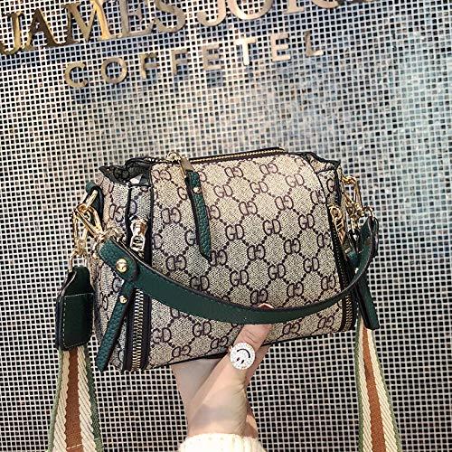 LFGCL Tasche weiblichen neuen Brief Breiten Schultergurt Umhängetasche Mode alte Blume Kuriertasche, grüne Taschen