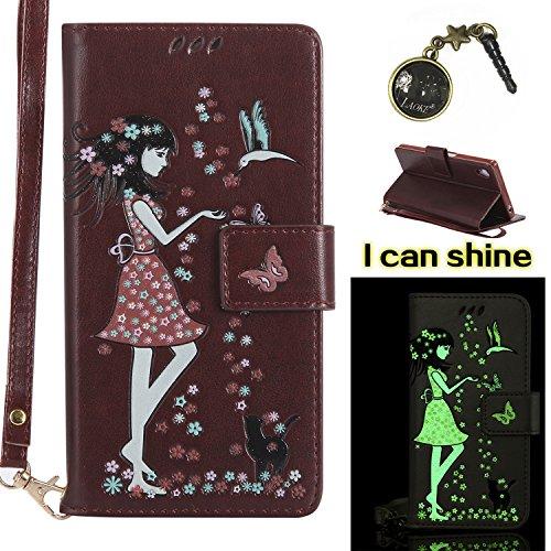 Xperia Z5 Hülle Flip-Case Premium Kunstleder Tasche im Bookstyle Klapphülle mit Weiche Silikon Handyhalter Lederhülle für Sony Xperia Z5 Luminous Mädchen Katze case Hülle +Stöpsel Staubschutz (8) 2