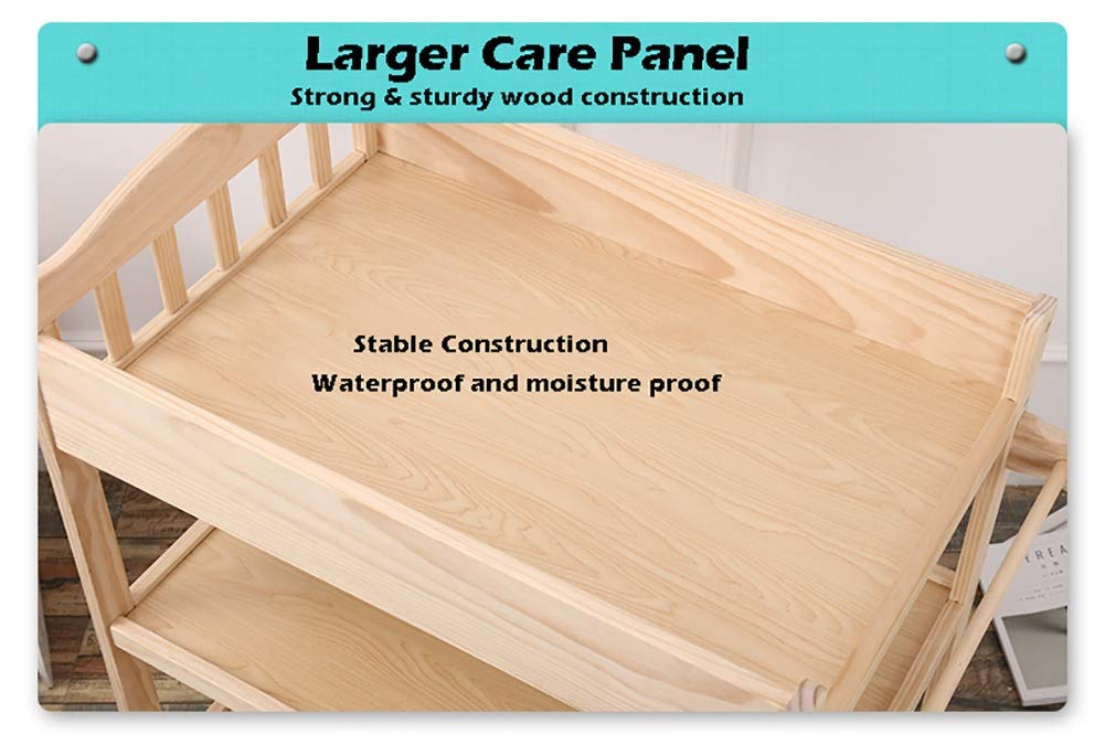 Wood Baby Changing Table with Pad and Wheels, Nursery Infant Dresser Multi Storage for Infants or Babies  HWF Shop