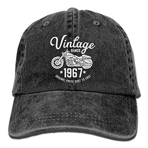 Nizefuture Adult Vintage Washed Dyed Cotton Adjustable Denim Baseball Cap 50th Birthday Vintage Retro Motorcycle 1967 Rider Dad Trucker Hat (Ax-men Hat)