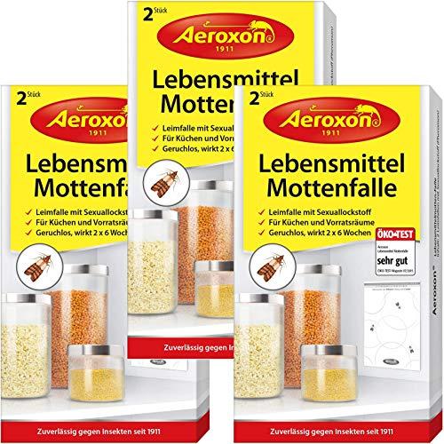 AEROXON Lebensmittelmottenfalle - Dreierpack = 6 Stück - Über Nacht Zusätzlichen Schutz