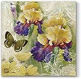 Serviettes Napkins 33x 33cm serviettage Magic Spring printemps fleurs papillon...