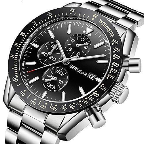 BERSIGAR orologio da polso da uomo al quarzo movimento al quarzo in acciaio inox impermeabile cronografo orologio per gli uomini in acciaio inox cinturino