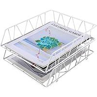 EasyPAG Porte-documents empilables A4 à 2 étages Blanc