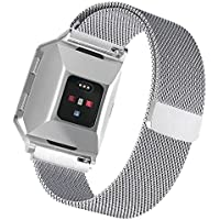 VAN-LUCKY para Fitbit Ionic Band, Magnetic Milanese Loop Bandas de Reemplazo de Acero Inoxidable Correa para Fitbit Ionic Smartwatch WatchBand Wrist Band Wristband Accesorios Large Silver