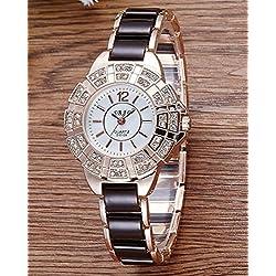 Mode Diamant Damenuhr Quartz watch , black
