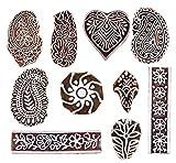 Hashcart Holzprägestempel für Blockdruck, handgeschnitzte Druckmuster für Stoffränder, Henna- und Textildruck, Scrapbooking, Töpferhandwerk und Wandverzierungen, braun, Set # 1071