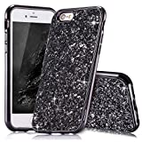 Slynmax Coque iPhone 6s Plus Noir Coque iPhone 6 Plus/6s Plus Silicone Paillette Strass Brillante Bling Glitter de Luxe Bumper Housse Etui de Protection [Fin] [Anti Choc] Glamour