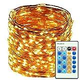 LED String Lights 165ft 500 LEDs Dimmable avec télécommande, Étoile Lumières pour bricolage Chambre, Patio, Jardin, Porte, Yard, Fête, Mariage (Lumières en fil de cuivre, Blanc Warm)