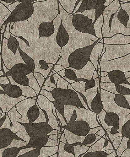 Tapete Boden grau Effekt Stoff und Blumen Schwarz mit Relief. Alles mit Reflexschirm gold. Konzept 9819