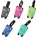5 Pcs Etichette Valigie Aereo Silicone Etichetta del Bagaglio D'imbarco Etichetta per Bagaglio Viaggio in Silicone Colorato A