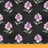 Soimoi Schwarz Viskose Chiffon Stoff Dot & Hibiskus Blumen-