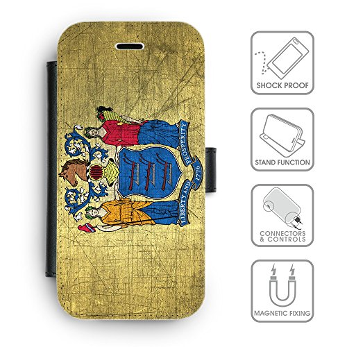 Delle cellule Phone Card Slot cassa del raccoglitore di cuoio // V00001480 Effetto New Jersey (Pronto Basamento Della Bandiera)
