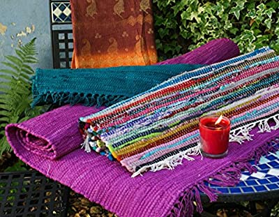 Fair Trade Hand Loomed Multi Coloured Rag Rug 60cm x 90cm - inexpensive UK light store.